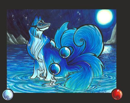 Water Kitsune Redraw by lizspit
