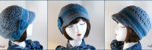 Lovely Blue Crochet Newsboy Hat by SailorMiniMuffin
