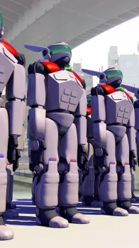Tokyo Police Cataclysm Division Mechs by dudecon
