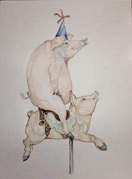 Pig on a Carousel Pig by mybuttercupart