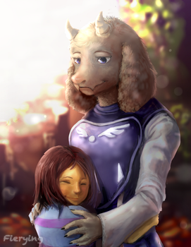 Toriel and Frisk by Fierying