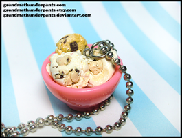 Cookie Dough Ice Cream Necklace by GrandmaThunderpants