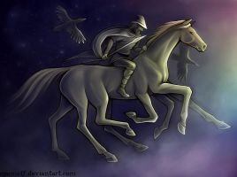 Odin on Sleipnir by spanielf