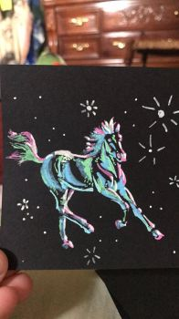 Running Horse done with paint pens by Starquilled