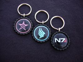 Mass Effect N7 Paragon Renegade Keychains by Monostache