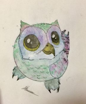 Cute owlet-waterpainting by S-Mari-T