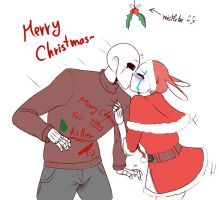 Mistletoe kiss-MT!Sans and Hiccup by BlaziePanda