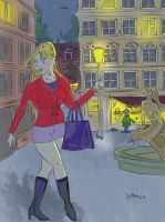 Shopping Girl in Old Town by Night by JokerX2011