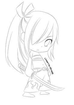 Chibi Erza (Lineart) by SilvaSE