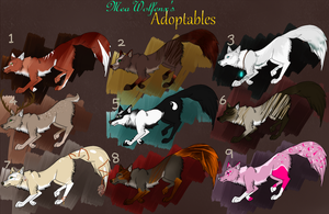 Canine Adopts [ OPEN ] 8/9 Available. (100 POINTS) by MeaWolfenX