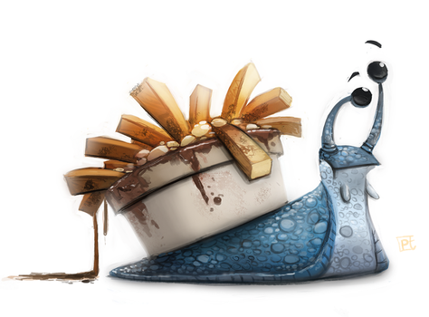 Daily Painting 619 # Twitter - A Very French Snail by Cryptid-Creations