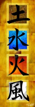 Four Elements - Kanji by Teakster