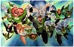 Grenn Lantern Corps - Commission 20x30 by taguiar