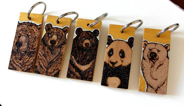 Gold Bear Keyrings Pyrography by BumbleBeeFairy