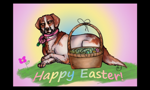 Happy Easter with a Brittany Spaniel by skullzhead