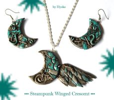 Steampunk winged crescent set by Hyo-pon