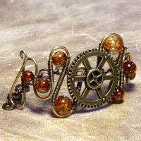 Amber steampunk Bracelet by CatherinetteRings