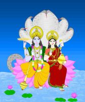 Lord Vishnu and Goddess Lakshmi by Madhuchhanda