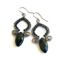 onyx marquise earrings by annie-jewelry