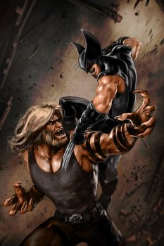 Logan vs. Sabretooth by skribbliX