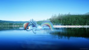 Rainbow dashing over a lake [PIRL] by colorfulBrony