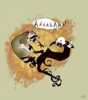 hehe... vampire slaying racoon by koosh-llama