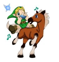 OoT: Young Link , Epona And Navi by ShadowWhisper446