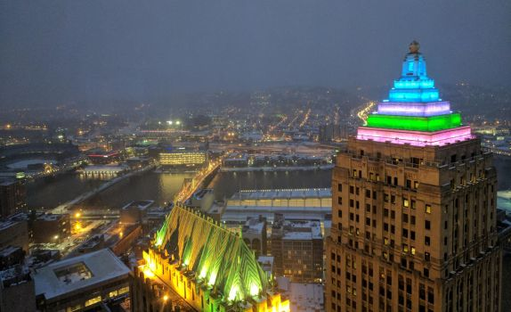 Snowy Pittsburgh by PixieTheCat