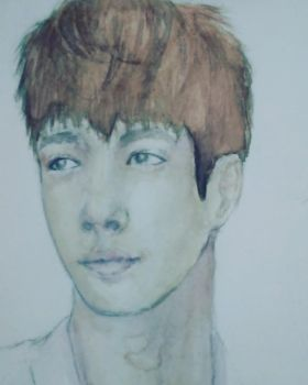 Lay Closeup Watercolor Painting by michikochan3000