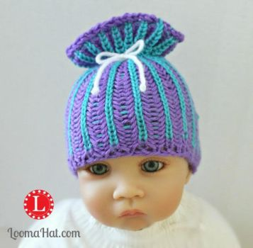 Loom Knit Brioche Stitch Paper Bag Sack Baby Hat by LoomaHat