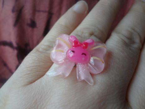 Bunny Bow Adjustable Ring by TolekaChan