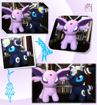 Chibi Standing Espeon and Umbreon Plushies by Ami-Plushies