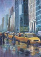 Rainy NYC Taxis by Wulff-Arts