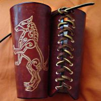 Celtic Wolf Bracers by griffarion