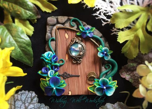 Polymer Clay Fairy Door Blues/Greens by missfinearts