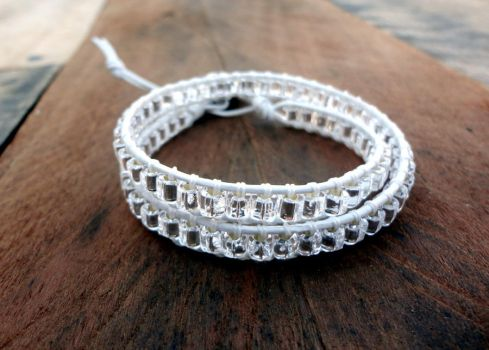 Silver and White Wrap Bracelet by Leesa-M