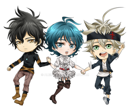 Black Clover Chibis by Aleude
