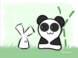 Panda and Bunny by Snowzzorcist