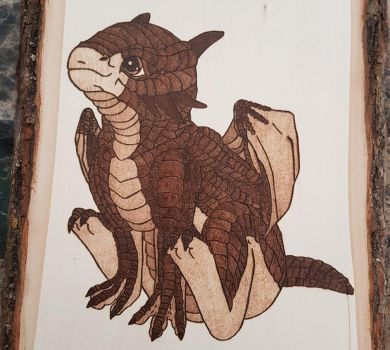 Woodburning - Baby Dragon by Stepher17