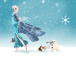 Frozen Wallpaper - Elsa and Olaf by leylaana