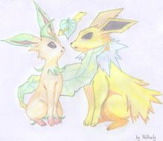 Leafeon x Jolteon Shipping by NathalyRoot