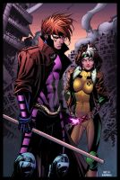 Gambit and Rogue by olivernome