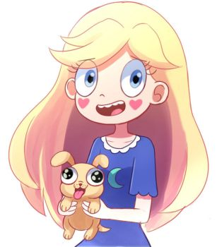 Star Butterfly and laser puppy by PencilTales
