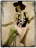 Green Vintage Witch Card by LLAP