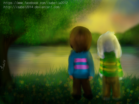Asriel and Frisk  Watching the sunset by Isabel2014