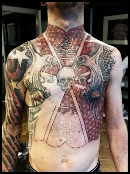 Torso of ravens and flowers by Meatshop-Tattoo
