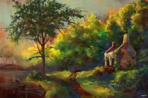 Country Cottage painting by Remainaery