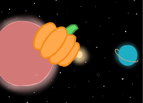A pumpkin floating through space by Color-Spark