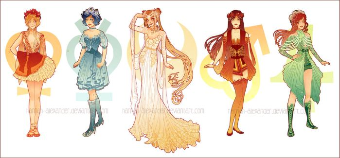 Sailor Moon: Art Nouveau Costume Designs by Hannah-Alexander