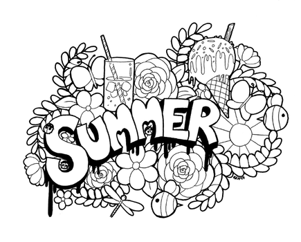 Summer Doodle - colouring line art (downloadable) by tea-bug